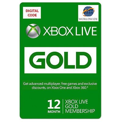 12 Month Xbox Live Gold Subscription Digital License Worldwide