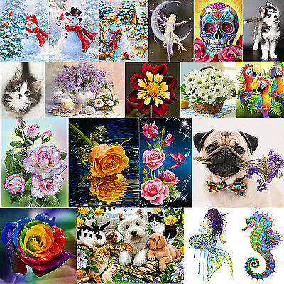 DIY 5D Diamond Embroidery Christmas Flower Painting Cross Stitch Home Decor Lot