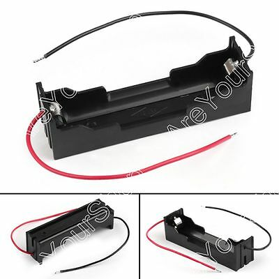 Cell 18650 Battery Rechargeable 3.7V Clip Holder Case Box With Wire Lead