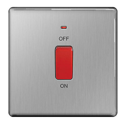 BG Stainless Steel 45A DP Switch with Neon, Single Plate