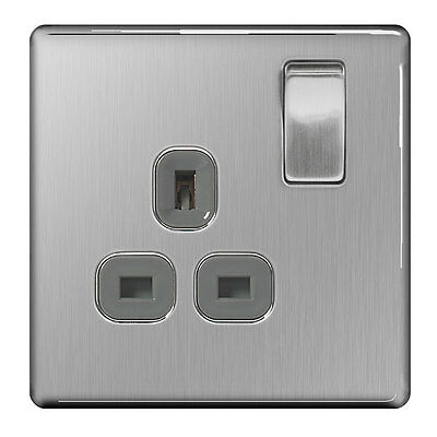 BG Stainless Steel, Grey 13A Switched Socket 1 Gang, Double Pole