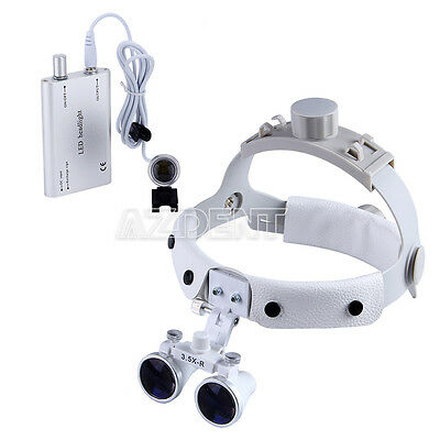 UK Dental Medical Headband Binocular Optical Loupes Portable LED Head Light Lamp