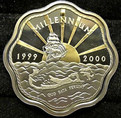 ✔ 1999 - 2000 Bermuda $2 Dollar Silver Proof w/ Gold Gilt Millenium Only 30,000