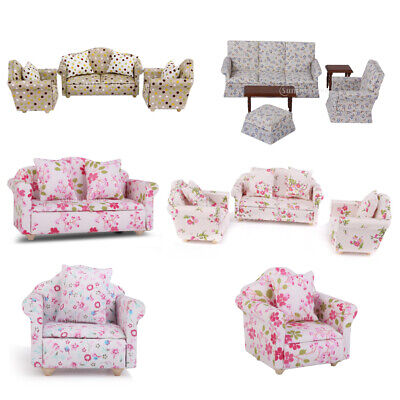 1:12th Dolls House Miniature Floral Upholstered Chair Sofa Living Room Furniture