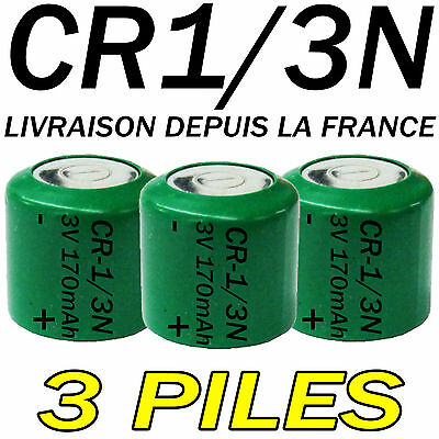 3 PILES ACCUS BOUTON CR1/3N 170mAh LITHIUM 3V 2L76 BATTERIE BATTERY