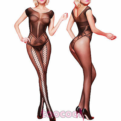 Bodystocking donna tutina overall catsuit velata lingerie intimo nuovo DL-2134