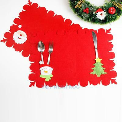Christmas Table Decor Non-Woven Placemat with Tableware Fork Bag Table Mat
