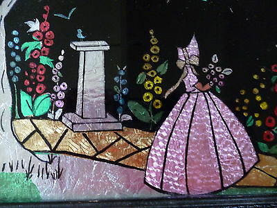 ART DECO FRAMED FOIL PICTURE of CRINOLINE LADY & FLOWERS 25cm by 20cm - vg cond