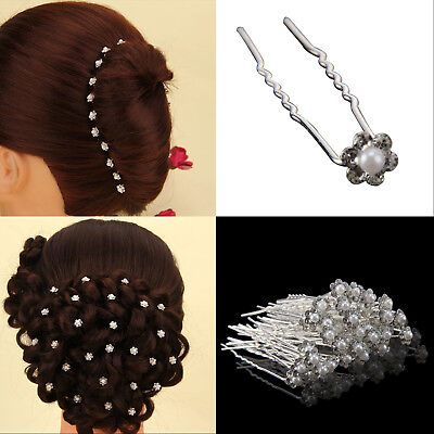 40pcs Pearl Flower Diamante Crystal Hair Pins Clips Prom Wedding Bridal Party