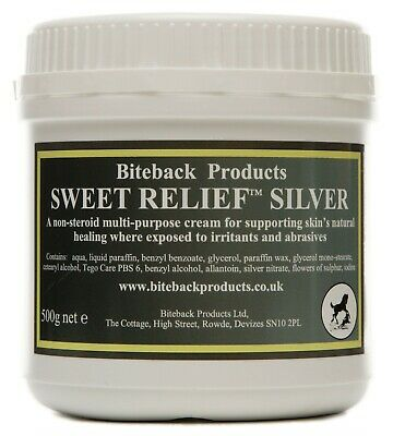 BITEBACK SWEET RELIEF SILVER Antimicrobial Healing Cream for horses & dogs 500g