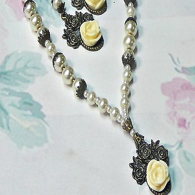 Necklace Earring set vintage style white pearl antique rose clip on or pierced.