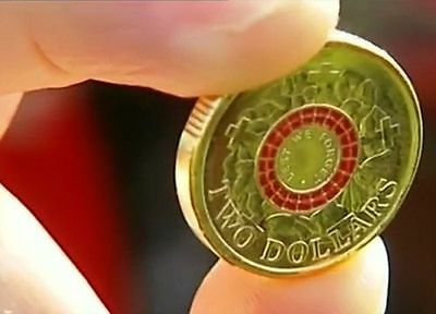 2015 $2 DOLLAR coin red colour lest we forget 100 YEARS ANZAC unc