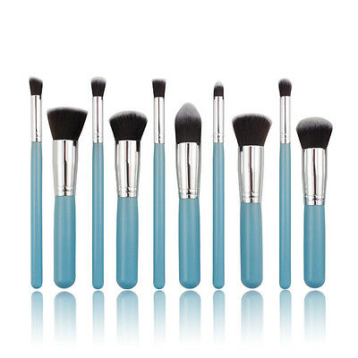 Professional 10pc Blue MakeUp Soft Face Powder Contour Eye Blending Brushes Set