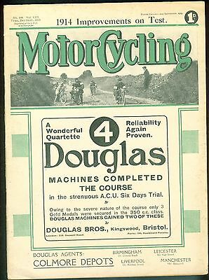 Vintage Motor Cycling Magazine 1913 Rex Pearson Clyno Win