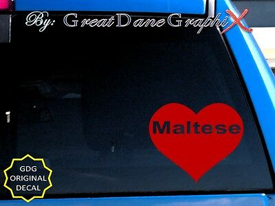 "Maltese ""Heart"" Vinyl Decal Sticker / Color Choice - HIGH QUALITY"