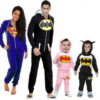 Mens Womens Family fitted All In One Rompers Kids Batman Hoodie Tops Pants Sets