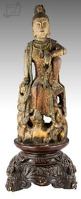 Chinese Carved Polychrome Quan Yin Statue