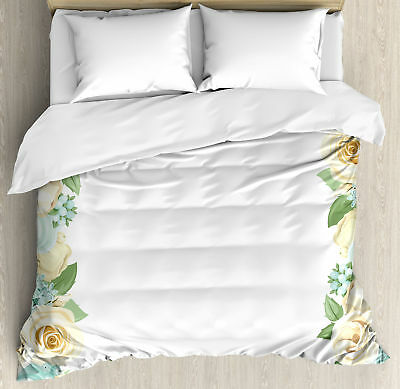 Shabby Chic Queen Size Duvet Cover Set Flower Roses Leaves with 2 Pillow Shams