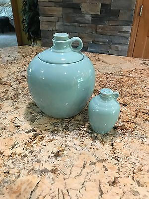 Shawnee Pottery sky blue penn dutch cookie jar and shaker