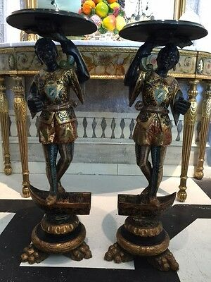 Pair of 18TH C / 19TH C ITALIAN VENETIAN HAND CARVED WOODEN PUTTI TABLE