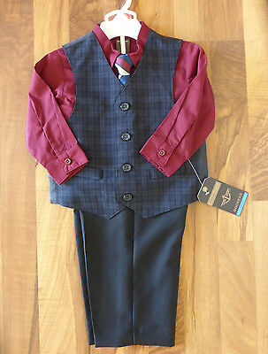 NWT Dockers Baby Boy Outfit Pants Vest Shirt Tie Set Size 24M Toddler Suit Party