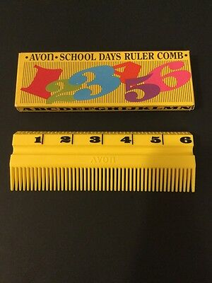 Vintage Avon Yellow School Days Ruler Comb