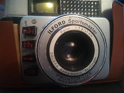 ilford sportsmaster camera and case and strap