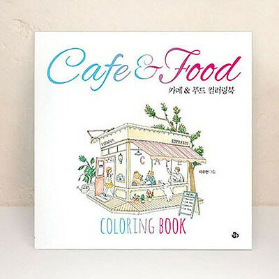 Cafe Food Art Coloring Book DIY Color Therapy Anti Stress Relief For Adult