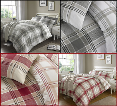 "Rapport Highland Stag /""Charcoal/"" Plaid Check Duvet Set SINGLE"