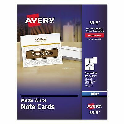 "Avery 8315 Inkjet Matte White Note Cards w/Envelopes 4.25"" x 5.5"" 60 Sets"
