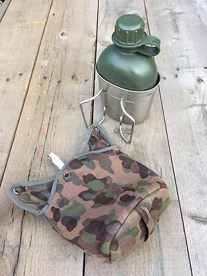 Austrian army canteen set water bottle with cup plus padded camo cover Bushcraft