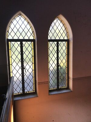 Historical Antique Stained Glass Lead Light Church Windows x 3