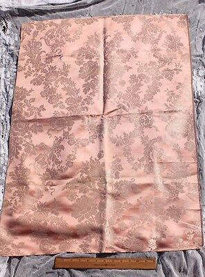 Antique c1860-1870 French Silk Pink Floral Frame Damask Sample Fabric