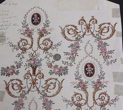 Antique French c1860-80 Block Printed Textile Or Wallpaper Design On Paper