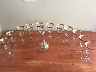 11 Vintage Goblets, Clear Stem, Gold Gilt Rim, Matching Decanter 1920's