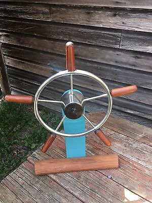 "Vintage Ship Wheel Teak And Stainless Steel, Trojan, 24"" Tall  by 22"" Wide"
