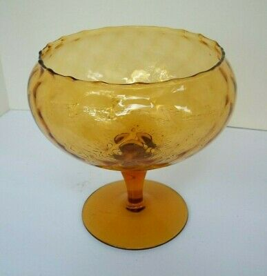 Amber Glass Pedestal Candy Dish,  Made In Italy, Murano Diamond Optical Pattern