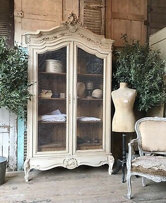 Original vintage French Louis XV linen press / armoire with chicken wire doors