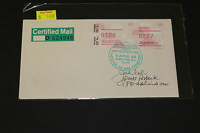 Aust 1988 Aeropex 88 National Air Mail Exhibition Signed Souvenir Cover