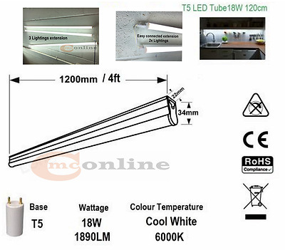 LED INTEGRATED TUBE LIGHT T5 FITTING 18W REPLACEMENT 4FT ENERGY SAVING CoolWhite