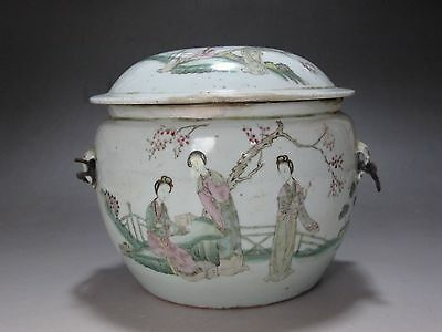 China Famille Rose Porcelain old Cover Pot jar Hand painted beautiful women 19th