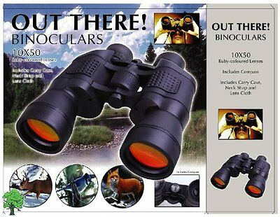 BINOCULARS High Magnification Power with CASE 10x50 Lens Caps COMPASS Ruby Lens