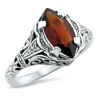 Real Garnet .925 Sterling Silver Art Deco Filigree Ring Size 8,             #818