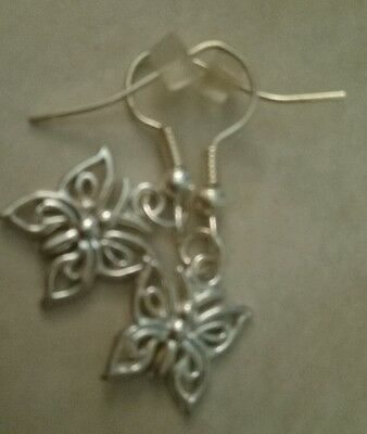 HANDMADE Bright silver tone Butterfly charm drop earnings - AUSSIE SELLER