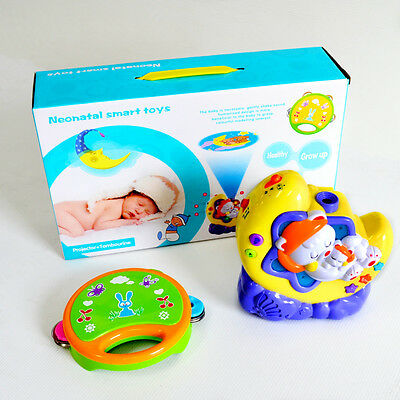 New Baby Bedroom Toy Night Light Musical Cot Mobile Projector & Tambourine #2215