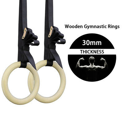 Wooden Gymnastic Olympic Rings Strap Crossfit Fitness Strength Training Gym Yoga