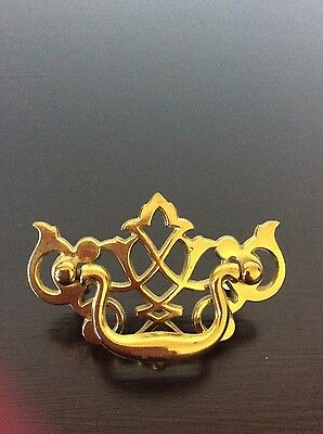 Vintage Drawer pull handle brass gold dresser desk