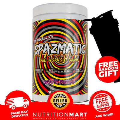 Spazmatic by Tim Muriello 30 Serves Pre Workout Hi Stim Energy - Pump - Focus