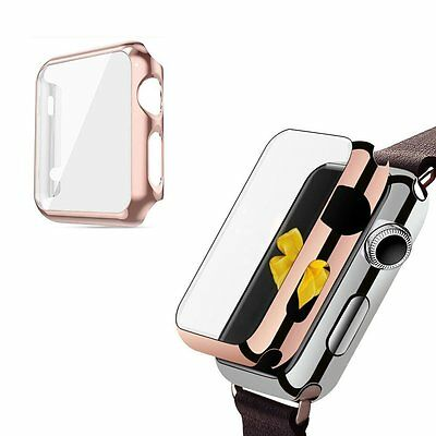 Apple Watch 38mm Series 1 Screen Protector Case with Metal Bumper (Rose Gold)