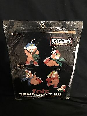 Titan Needlecraft Felt Christmas Ornament Kit Teddy Bears #403 Sealed Vintage
